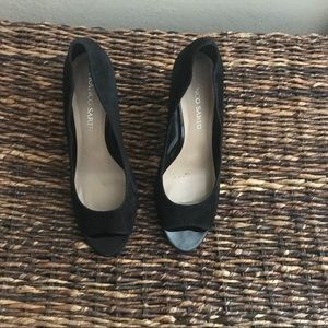 Women's Franco Sarto Black Wedge Peep Toe
